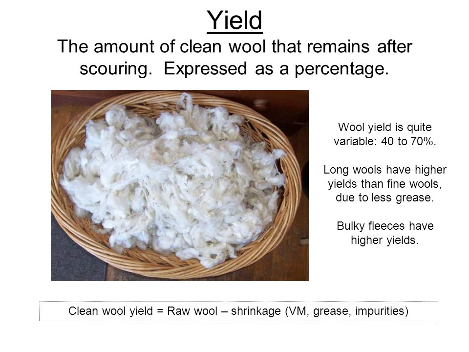 Clean wool yield = Raw wool – shrinkage (VM, grease, impurities)