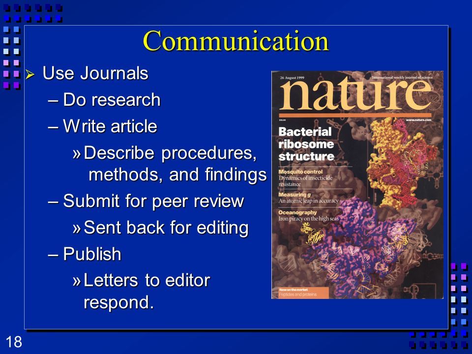 Communication Use Journals Do research Write article