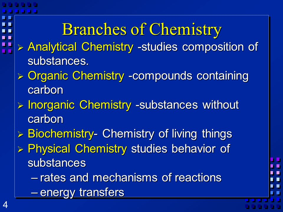 Branches of ChemistryAnalytical Chemistry -studies composition of substances. Organic Chemistry -compounds containing carbon.