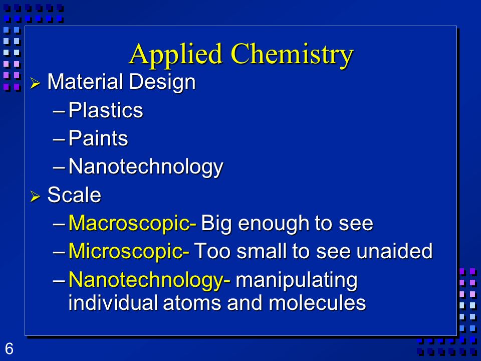 Applied Chemistry Material Design Plastics Paints Nanotechnology Scale