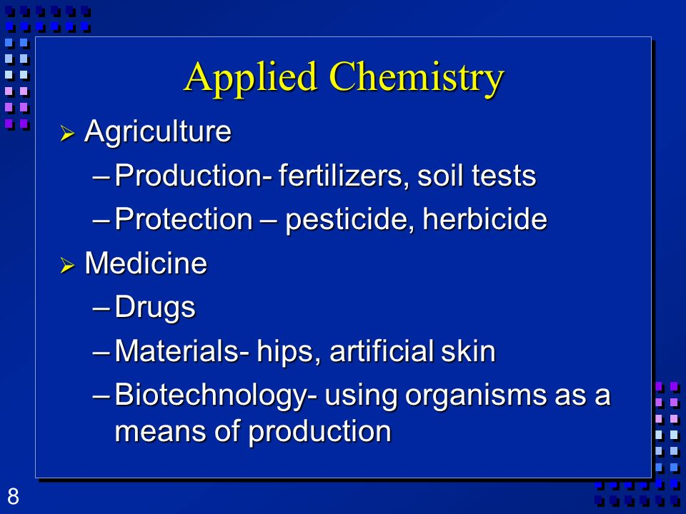 Applied Chemistry Agriculture Production- fertilizers, soil tests