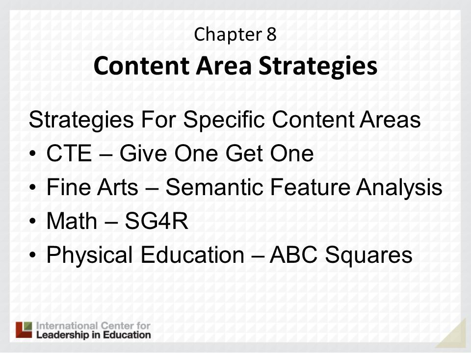 Chapter 8 Content Area Strategies