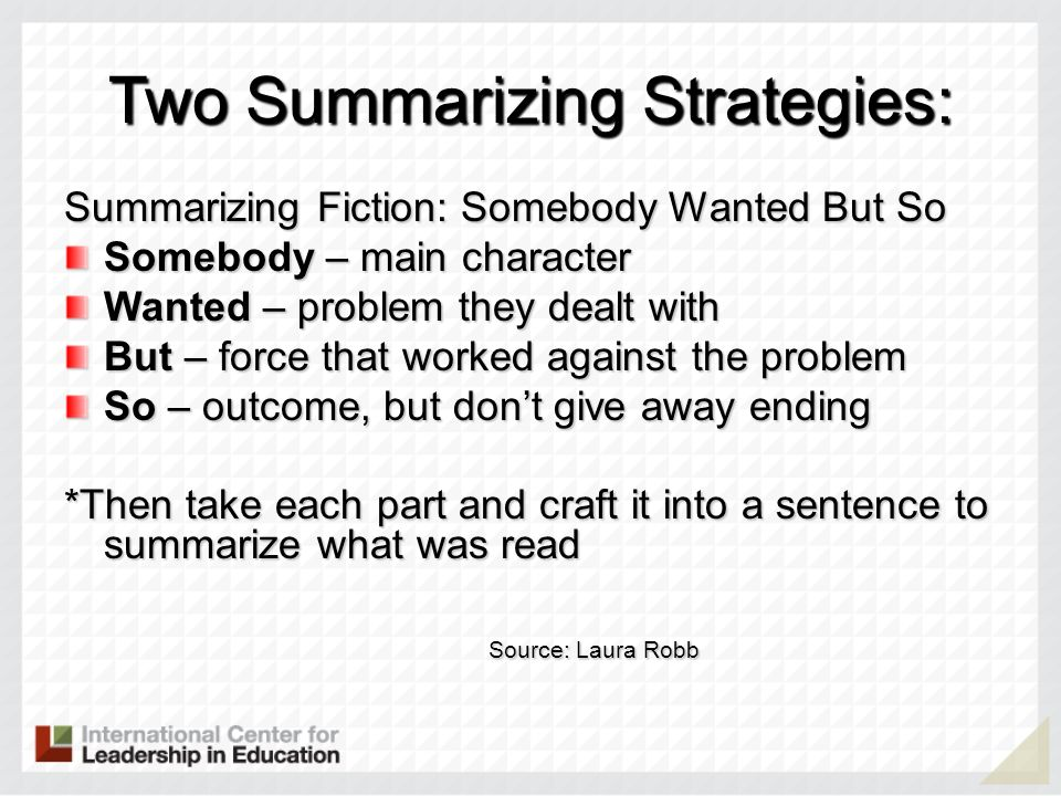 Two Summarizing Strategies: