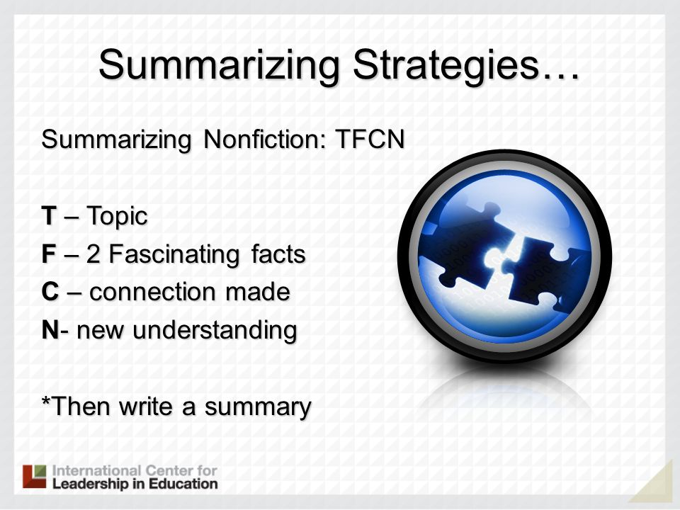 Summarizing Strategies…