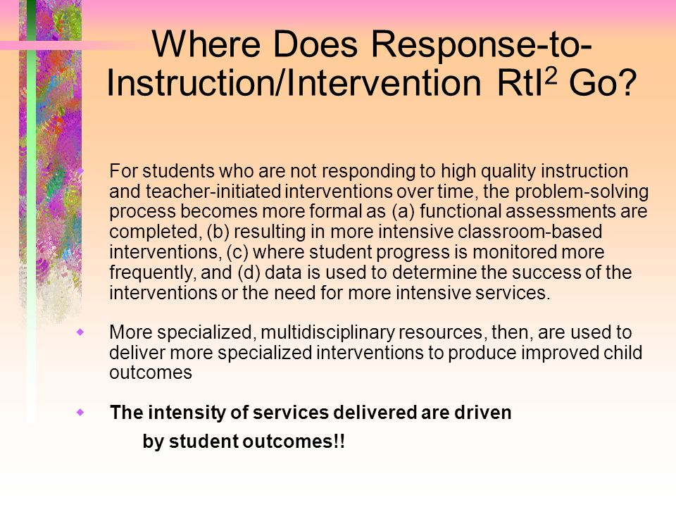 Where Does Response-to-Instruction/Intervention RtI2 Go
