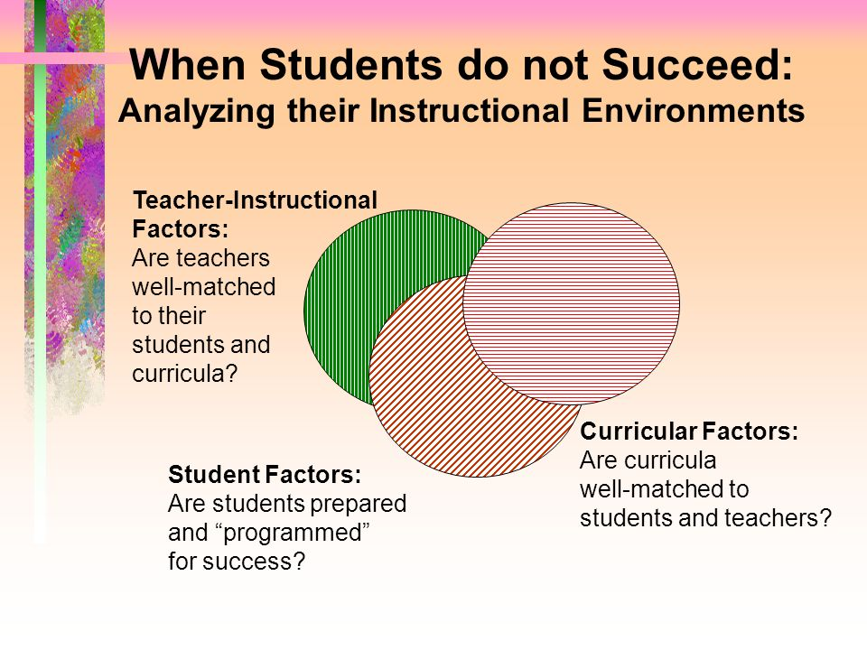 When Students do not Succeed: Analyzing their Instructional Environments