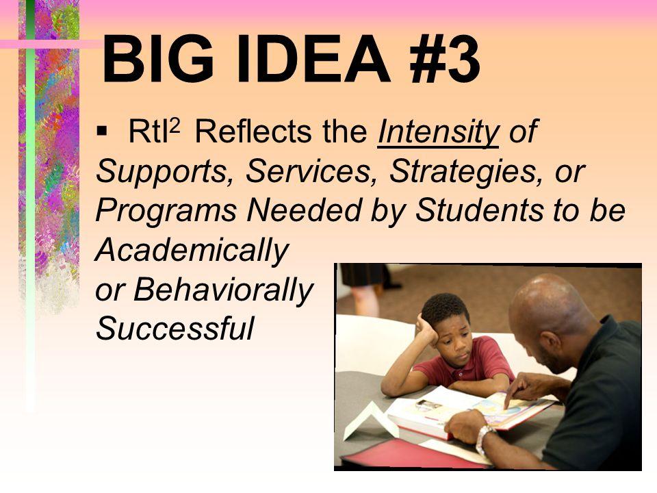 BIG IDEA #3 RtI2 Reflects the Intensity of
