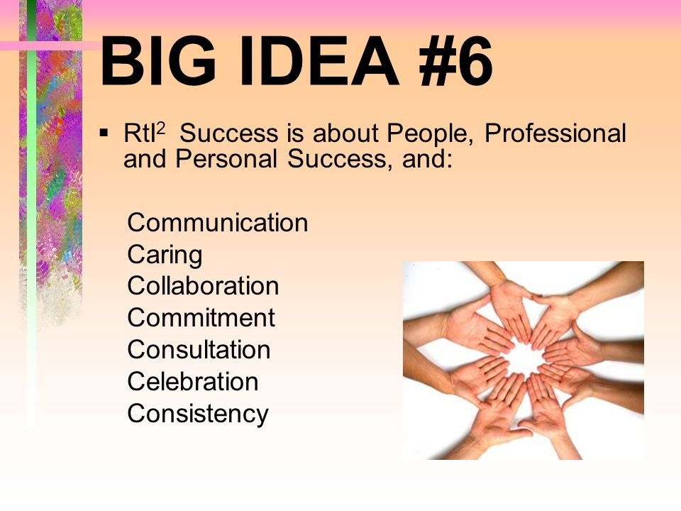 BIG IDEA #6 RtI2 Success is about People, Professional and Personal Success, and: Communication. Caring.