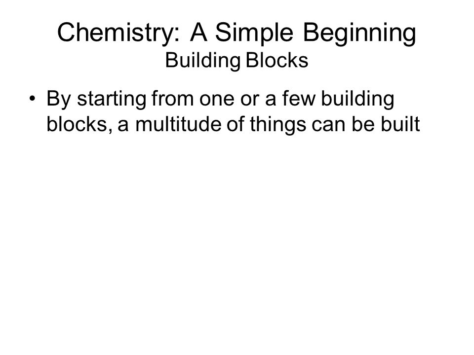 Chemistry: A Simple Beginning Building Blocks