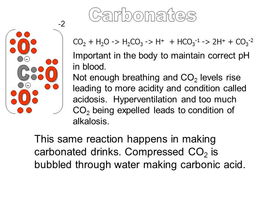 Carbonates -2. CO2 + H2O -> H2CO3 -> H+ + HCO3-1 -> 2H+ + CO3-2. O.