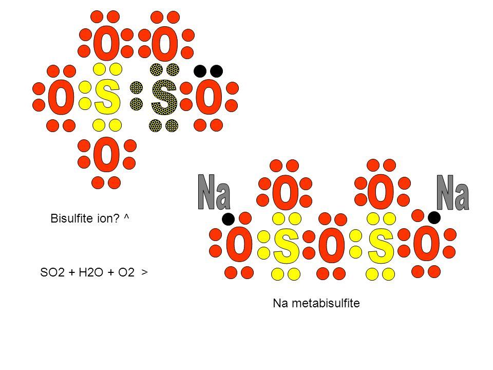 O O O S S O O Na O O Na O S O S O Bisulfite ion ^ SO2 + H2O + O2 >