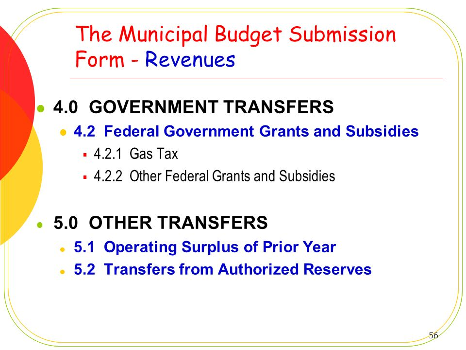The Municipal Budget Submission Form - Revenues