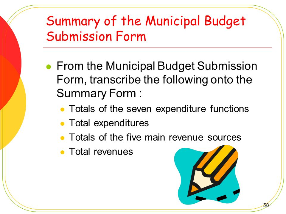 Summary of the Municipal Budget Submission Form
