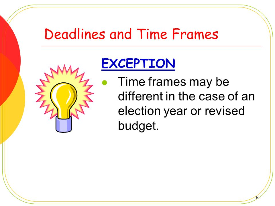 Deadlines and Time Frames