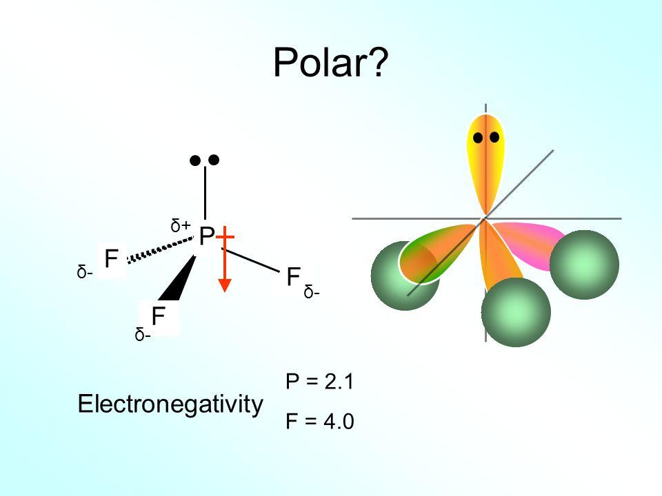 Polar δ+ P F δ- F δ- F δ- P = 2.1 F = 4.0 Electronegativity