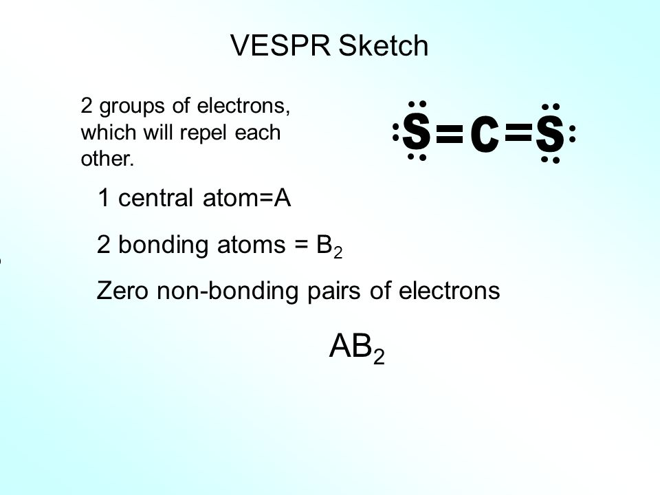 C S AB2 VESPR Sketch 1 central atom=A 2 bonding atoms = B2