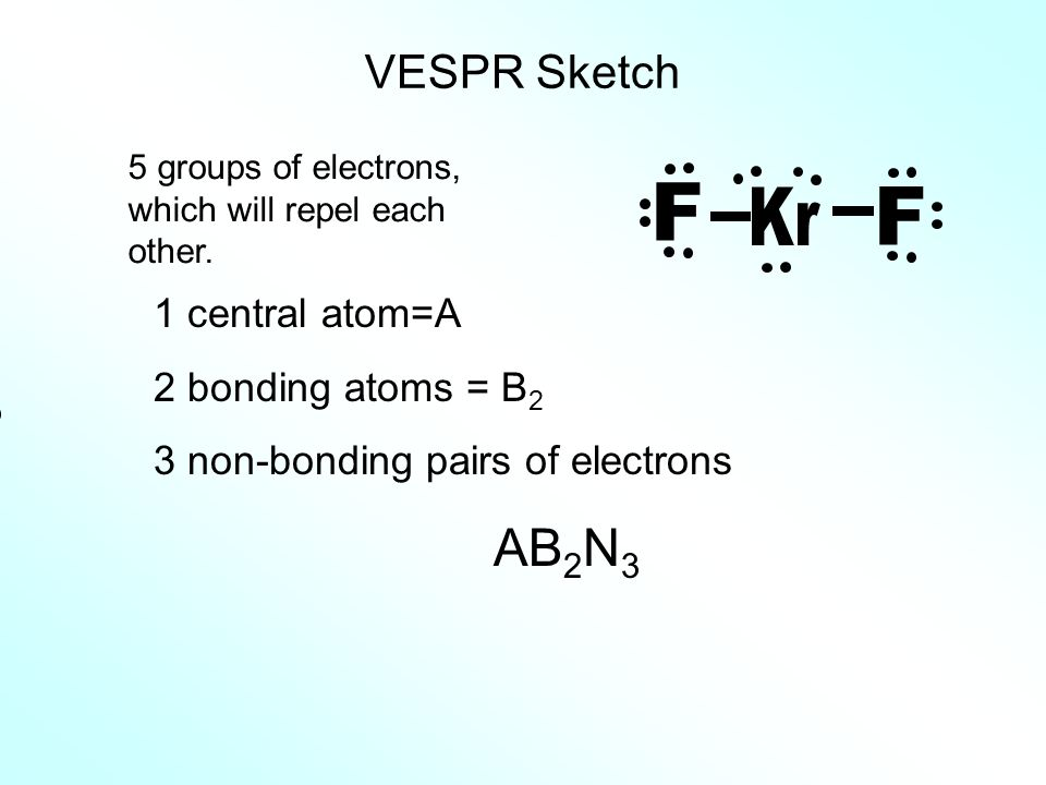 Kr F AB2N3 VESPR Sketch 1 central atom=A 2 bonding atoms = B2