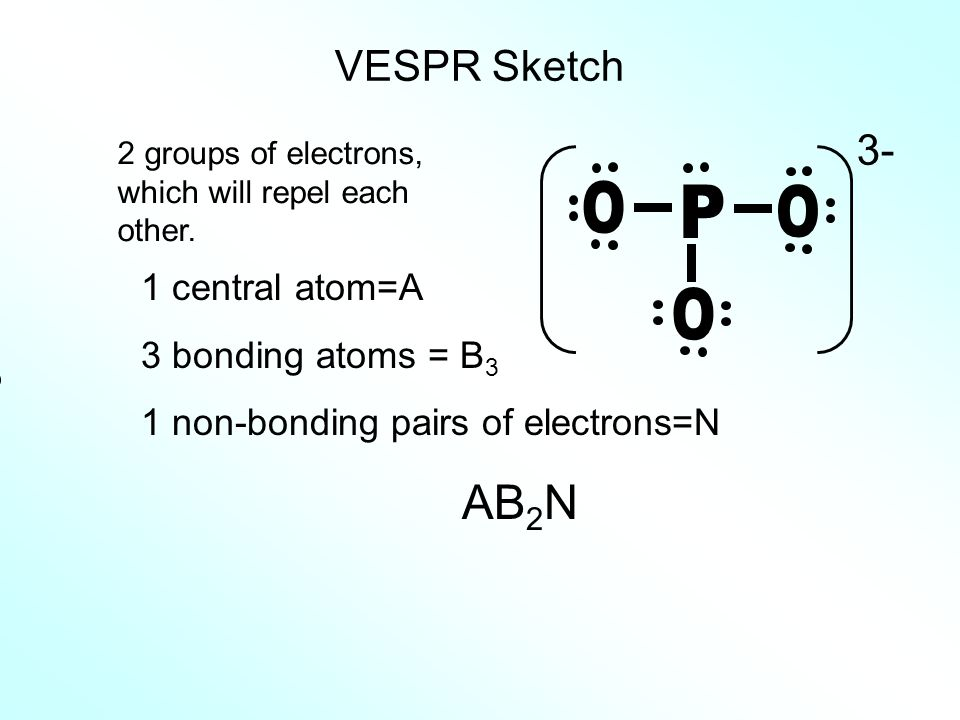 P O AB2N VESPR Sketch 3- 1 central atom=A 3 bonding atoms = B3