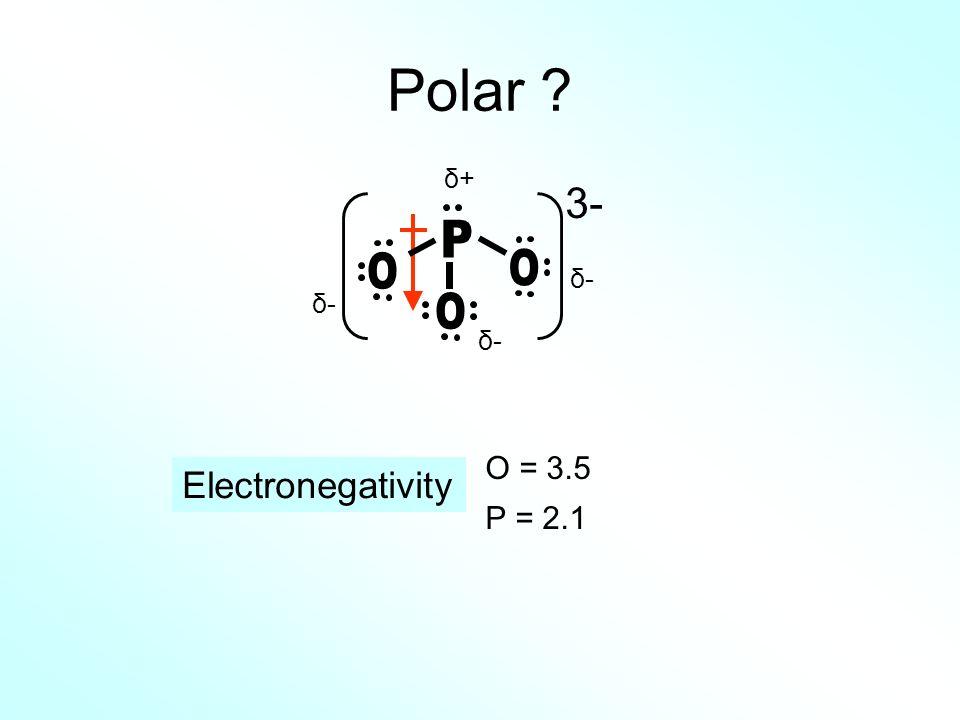 Polar δ+ 3- P O O δ- δ- O δ- O = 3.5 P = 2.1 Electronegativity