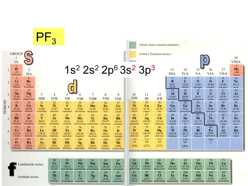 PF3 s p 1s2 2s2 2p6 3s2 3p3 d f