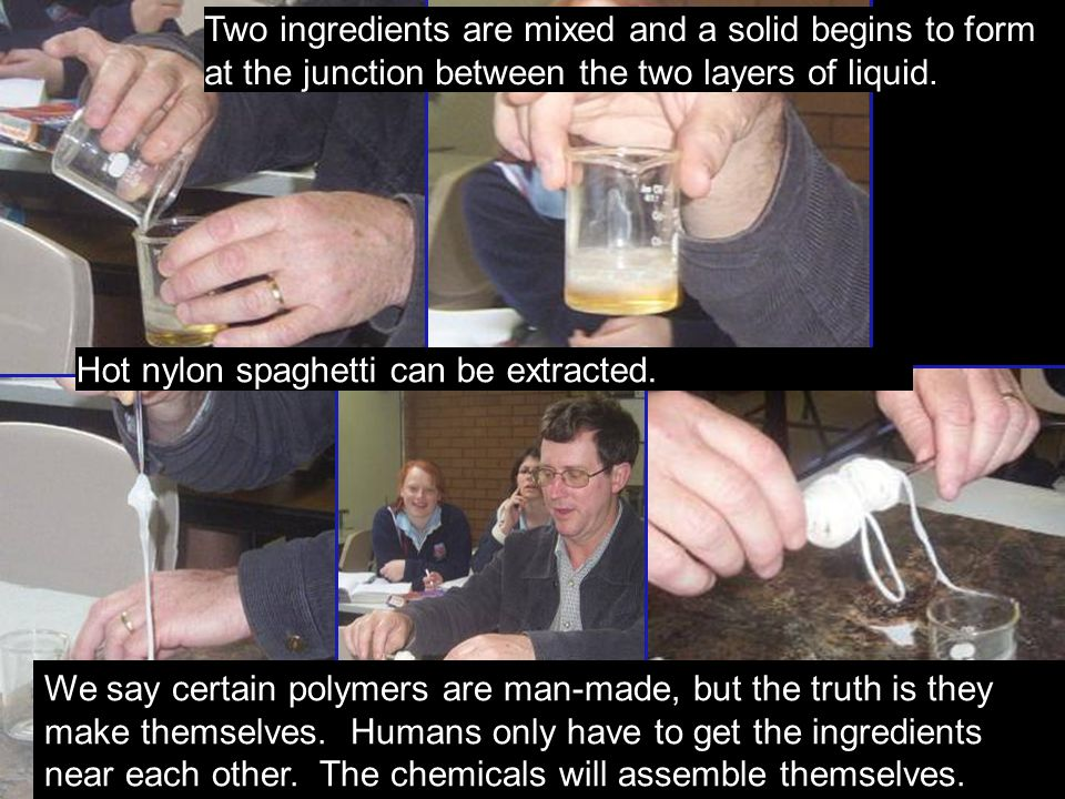 Two ingredients are mixed and a solid begins to form at the junction between the two layers of liquid.