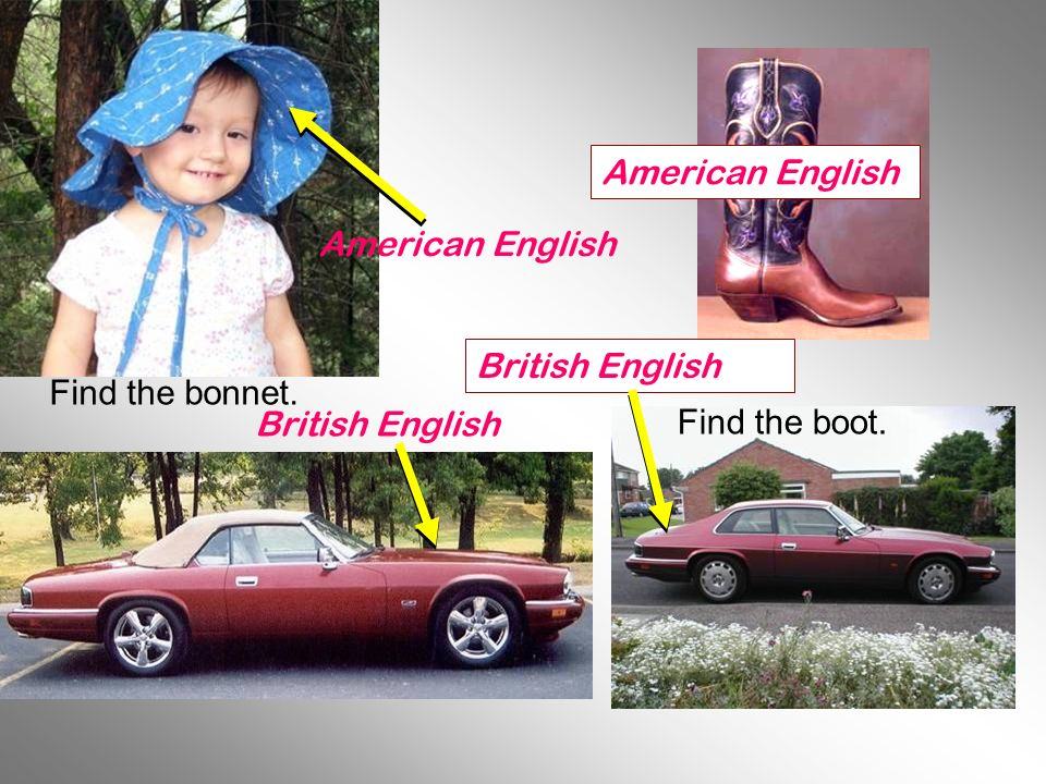 American English British English American English British English Find the bonnet. Find the boot.