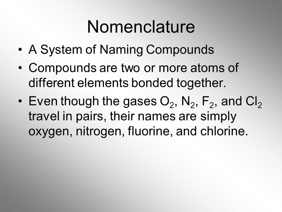 Nomenclature A System of Naming Compounds