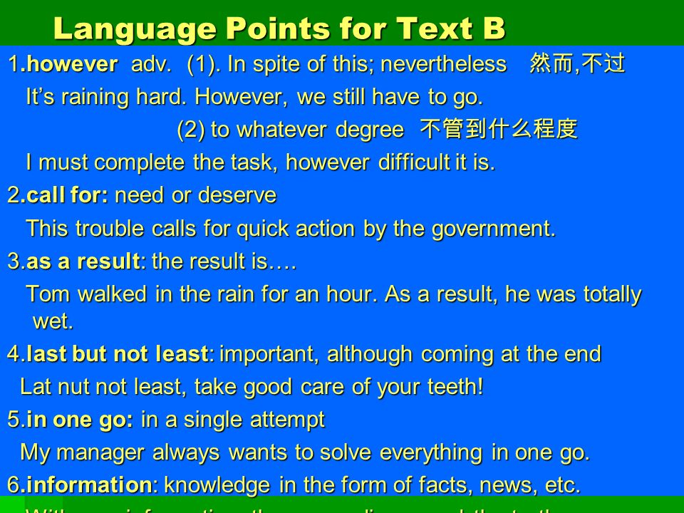 Language Points for Text B