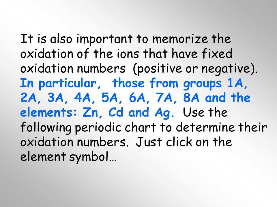 It is also important to memorize the oxidation of the ions that have fixed oxidation numbers (positive or negative).