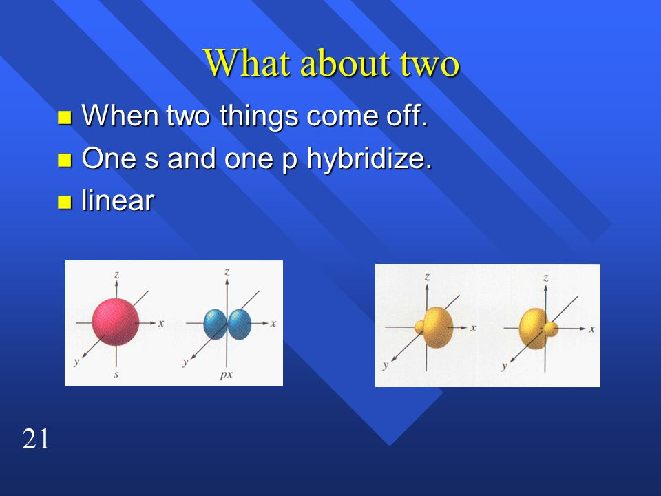 What about two When two things come off. One s and one p hybridize.