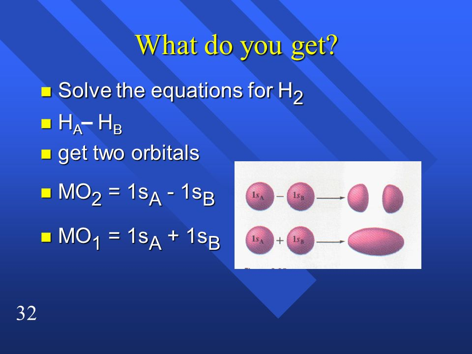 What do you get Solve the equations for H2 HA HB get two orbitals