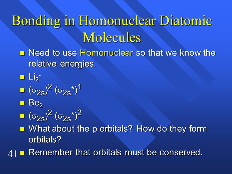 Bonding in Homonuclear Diatomic Molecules