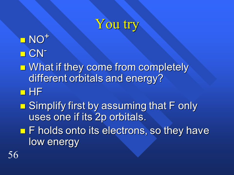 You try NO+ CN- What if they come from completely different orbitals and energy HF.