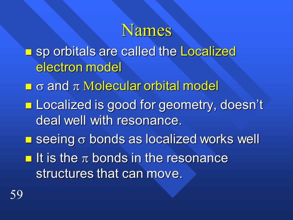 Names sp orbitals are called the Localized electron model