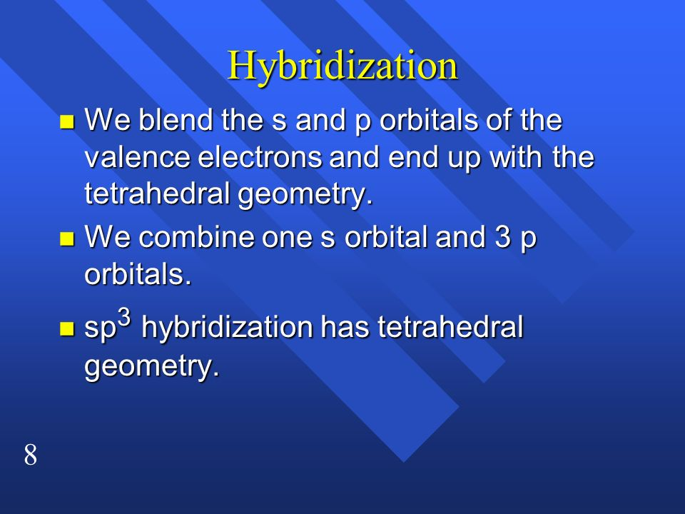 Hybridization We blend the s and p orbitals of the valence electrons and end up with the tetrahedral geometry.