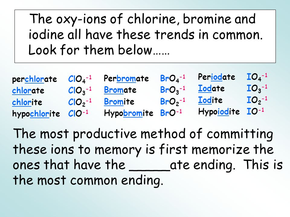 The oxy-ions of chlorine, bromine and iodine all have these trends in common. Look for them below……
