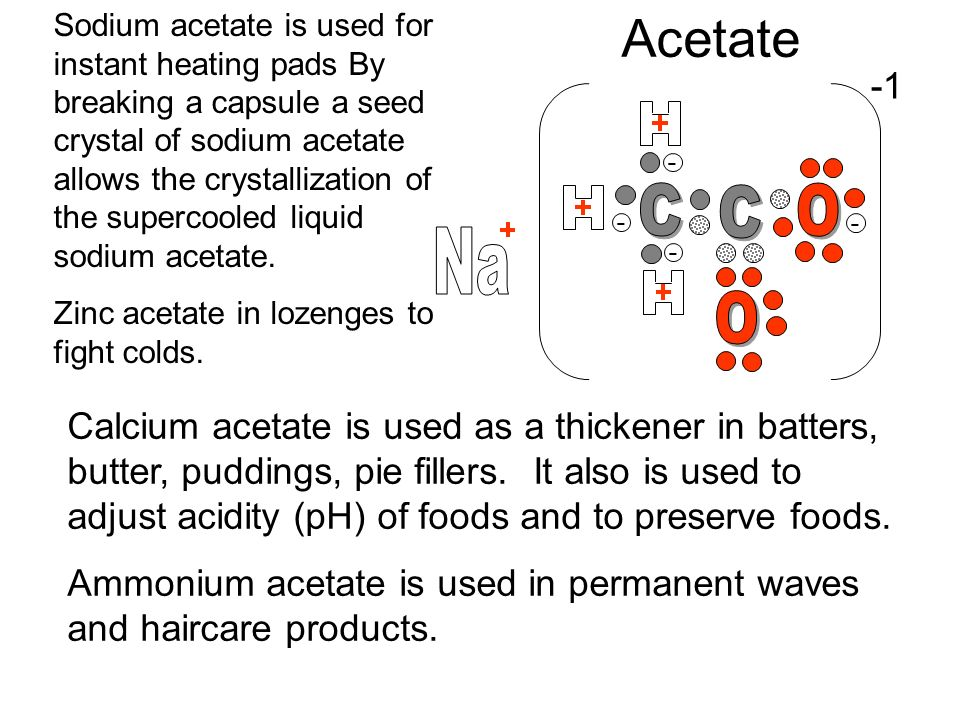 Sodium acetate is used for instant heating pads By breaking a capsule a seed crystal of sodium acetate allows the crystallization of the supercooled liquid sodium acetate.
