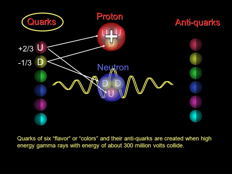 Proton Quarks Anti-quarks U D U D Neutron D U +2/3 -1/3