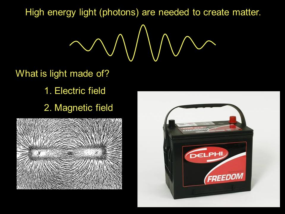 High energy light (photons) are needed to create matter.