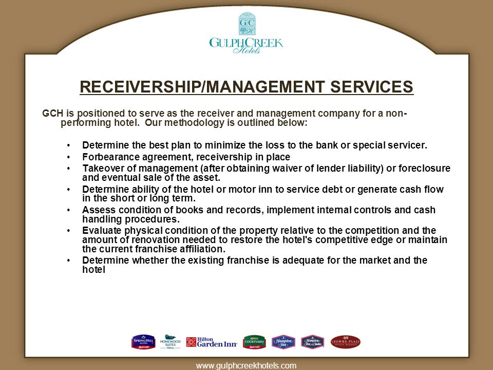 RECEIVERSHIP/MANAGEMENT SERVICES