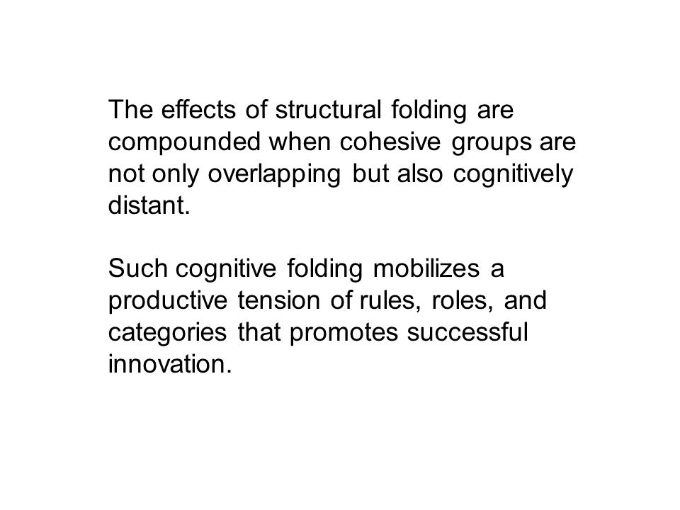 The effects of structural folding are compounded when cohesive groups are not only overlapping but also cognitively distant.