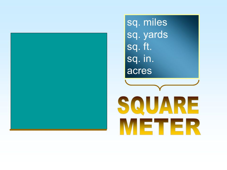 sq. miles sq. yards sq. ft. sq. in. acres