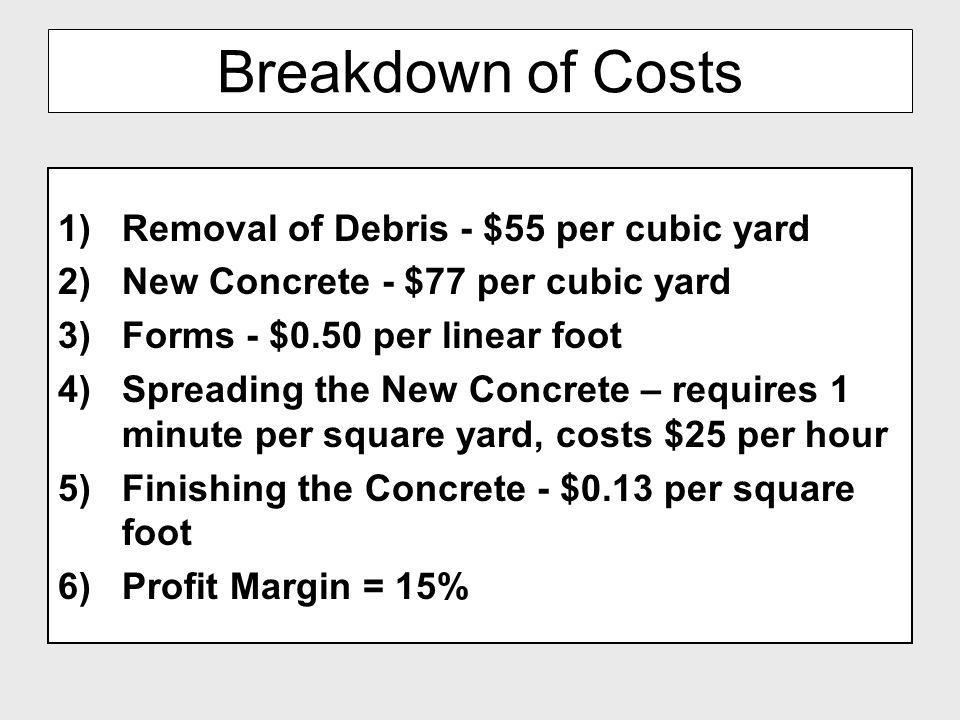 Breakdown of Costs Removal of Debris - $55 per cubic yard