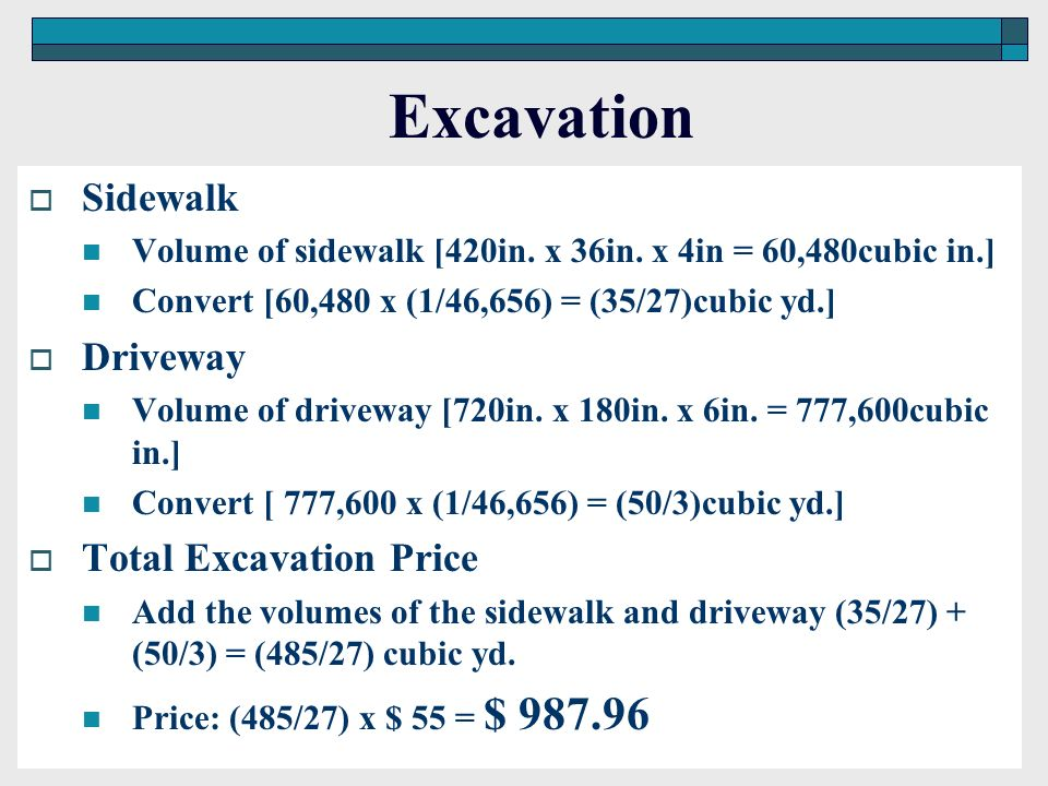 Excavation Sidewalk Driveway Total Excavation Price