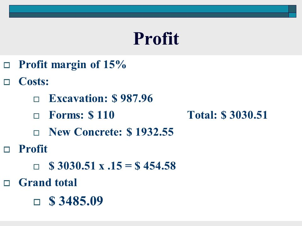 Profit $ 3485.09 Profit margin of 15% Costs: Excavation: $ 987.96