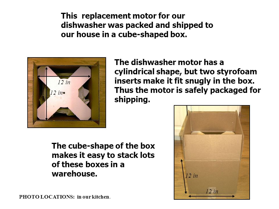 This replacement motor for our dishwasher was packed and shipped to our house in a cube-shaped box.