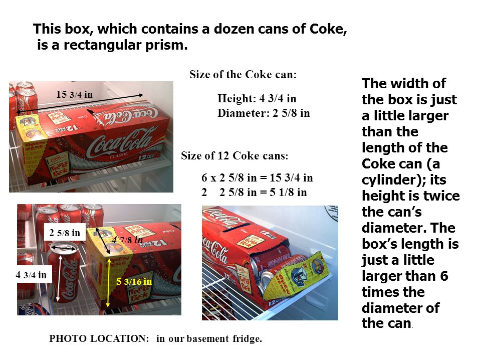 This box, which contains a dozen cans of Coke, is a rectangular prism.