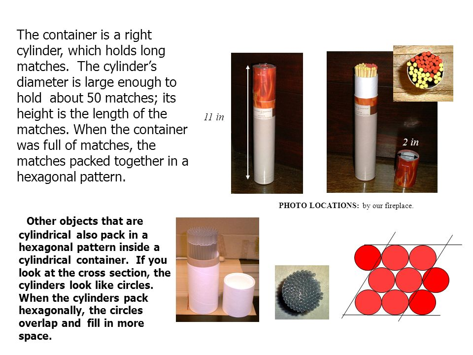 The container is a right cylinder, which holds long matches