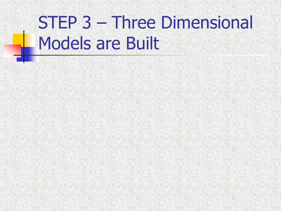STEP 3 – Three Dimensional Models are Built