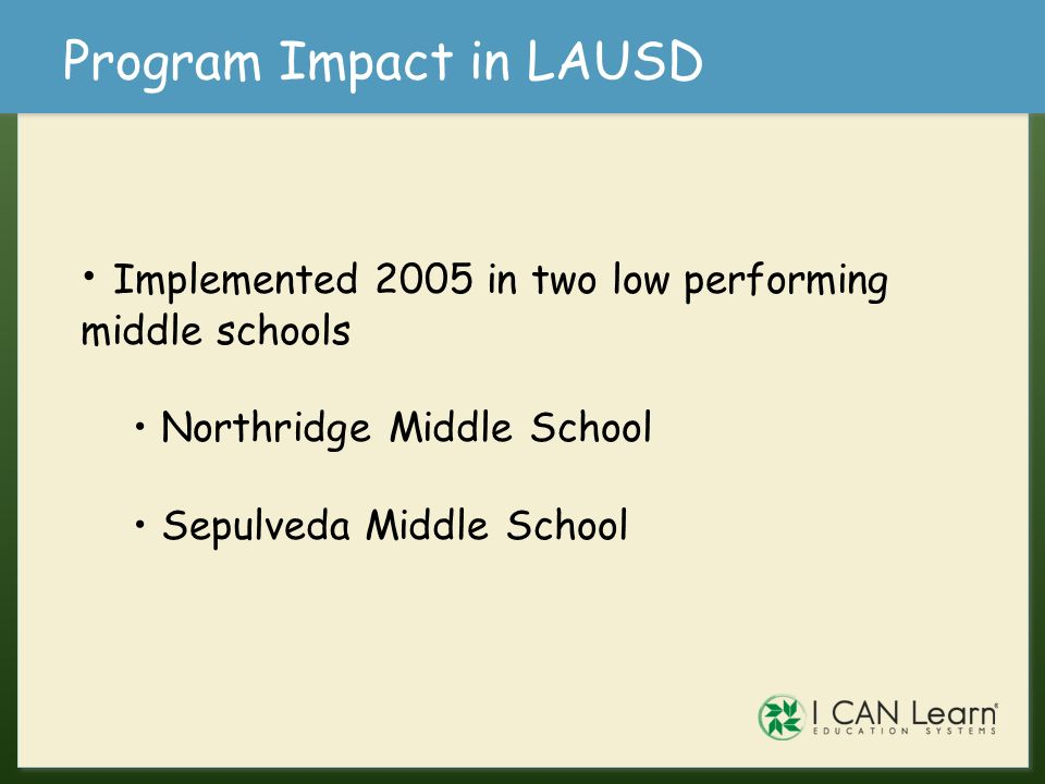 Program Impact in LAUSD